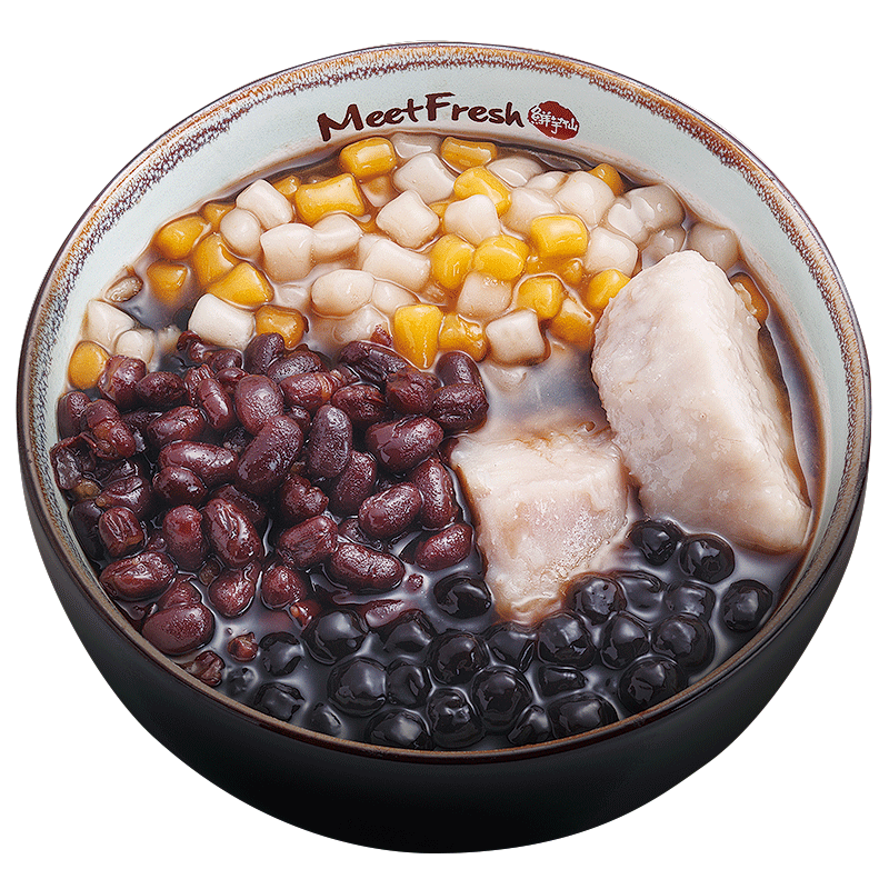 Hot Grass Jelly Soup - Combo B - with Red Beans, Taro, Boba, Mini Taro Balls, and Grass Jelly Soup