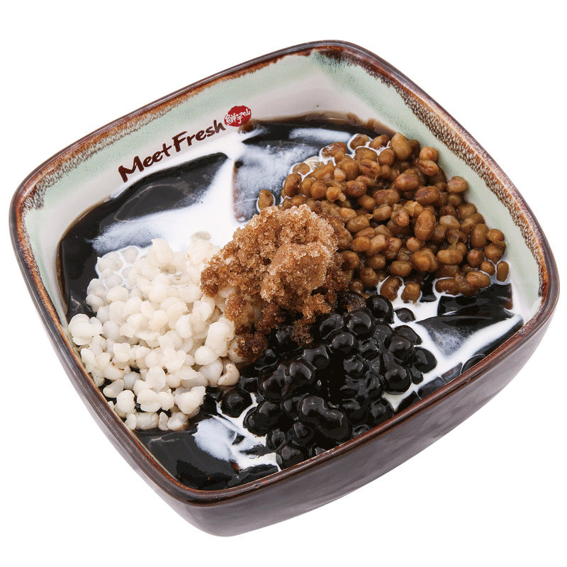 Icy Grass Jelly with Mung Beans, Barley Boba, Grass Jelly, Grass Jelly Flavored Shaved Ice