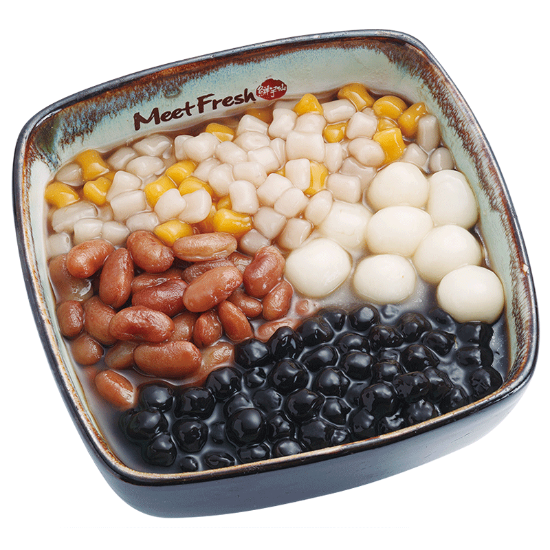 Hot Grass Jelly with Kidney Beans, Rice Balls, Boba, Mini Taro Balls, and Grass Jelly Soup