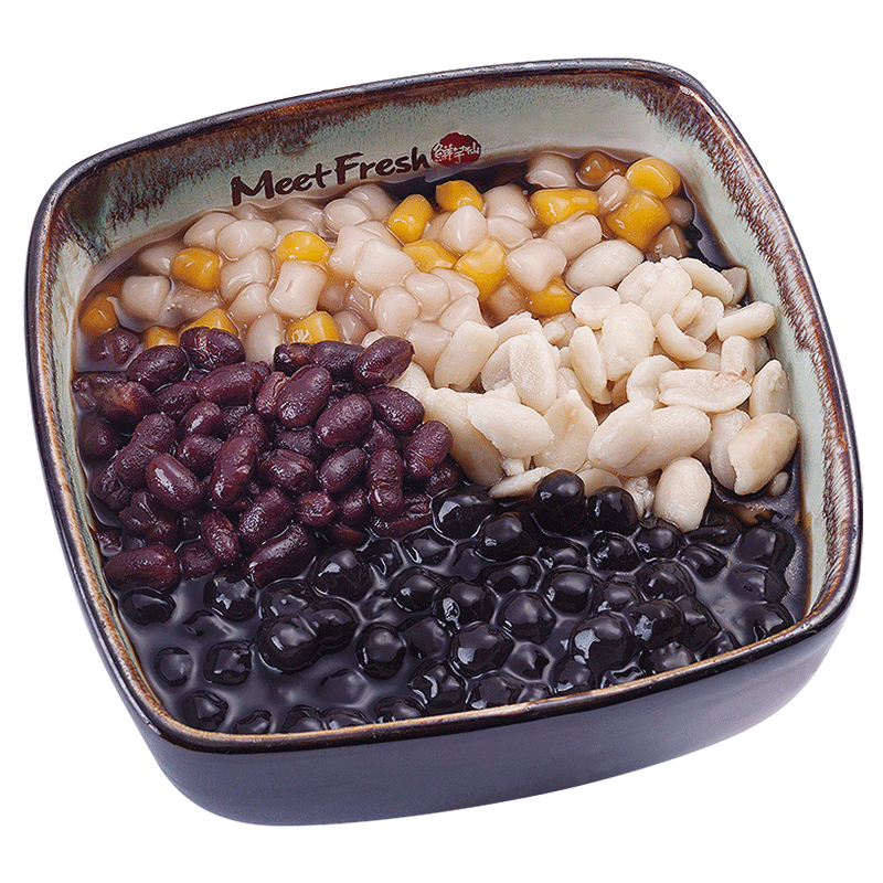 Hot Grass Jelly Soup Combo A -with Red Beans, Peanuts, Boba, Mini Taro Balls, and Grass Jelly Soup