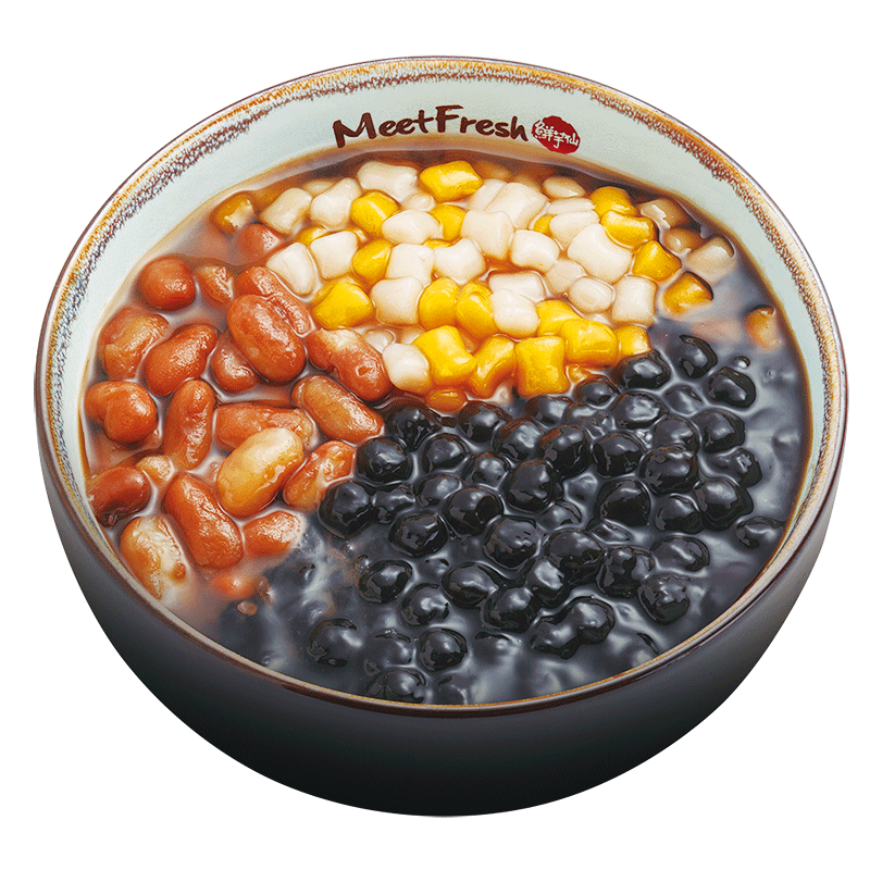 Signature Hot Grass Jelly with Kidney Beans, Boba, Mini Taro Balls, and Grass Jelly Soup