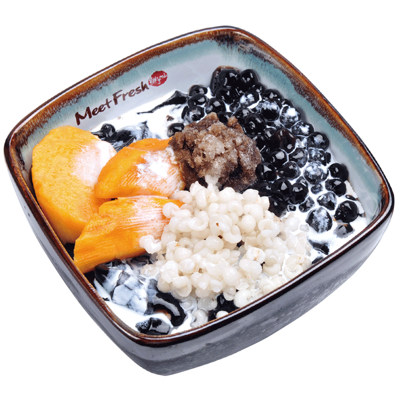 Icy Grass Jelly with Sweet Potato, Barley, Boba, Grass Jelly, Grass Jelly Flavored Shaved Ice
