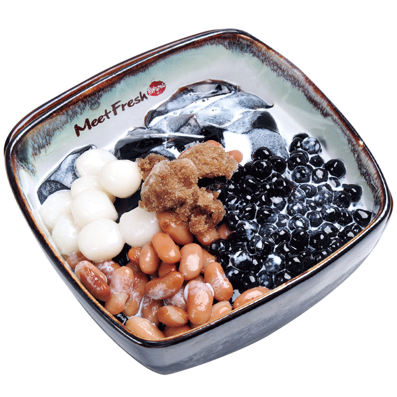 Icy Grass Jelly with Kidney Beans, Rice Balls, Boba, Grass Jelly, and Grass Jelly Flavored Shaved Ice