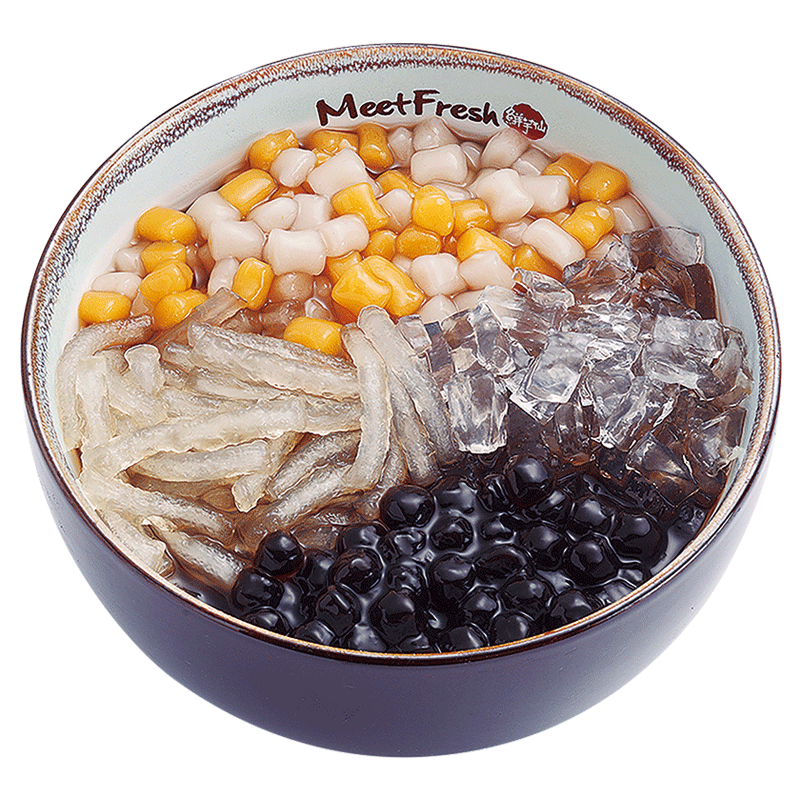 Hot Grass Jelly with Jelly Noodle, Melon Jelly, Boba, Mini Taro Balls, and Grass Jelly Soup