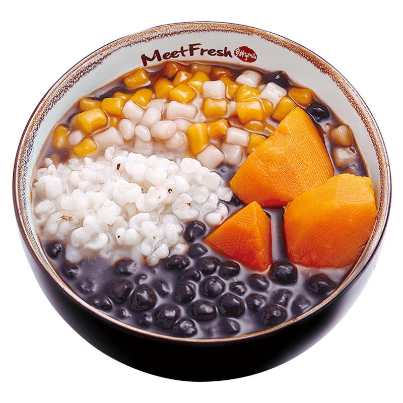 Hot Grass Jelly with Sweet Potato, Barley, Boba, Mini Taro Balls, and Grass Jelly Soup