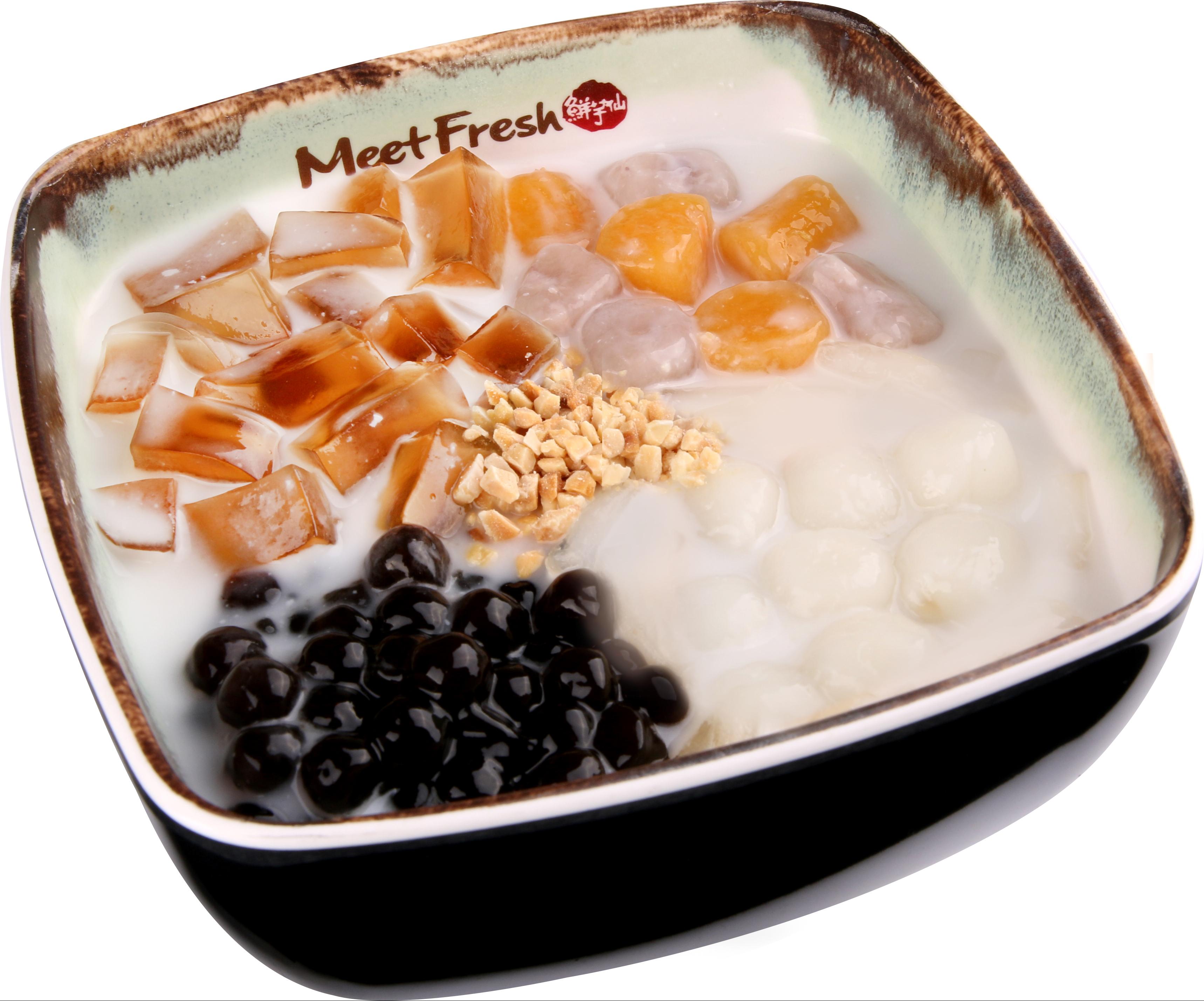 Hot Almond Soup Combo C, Melon Jelly, Rice Balls, Boba, Taro Balls, Almond Flakes, Hot Almond Soup
