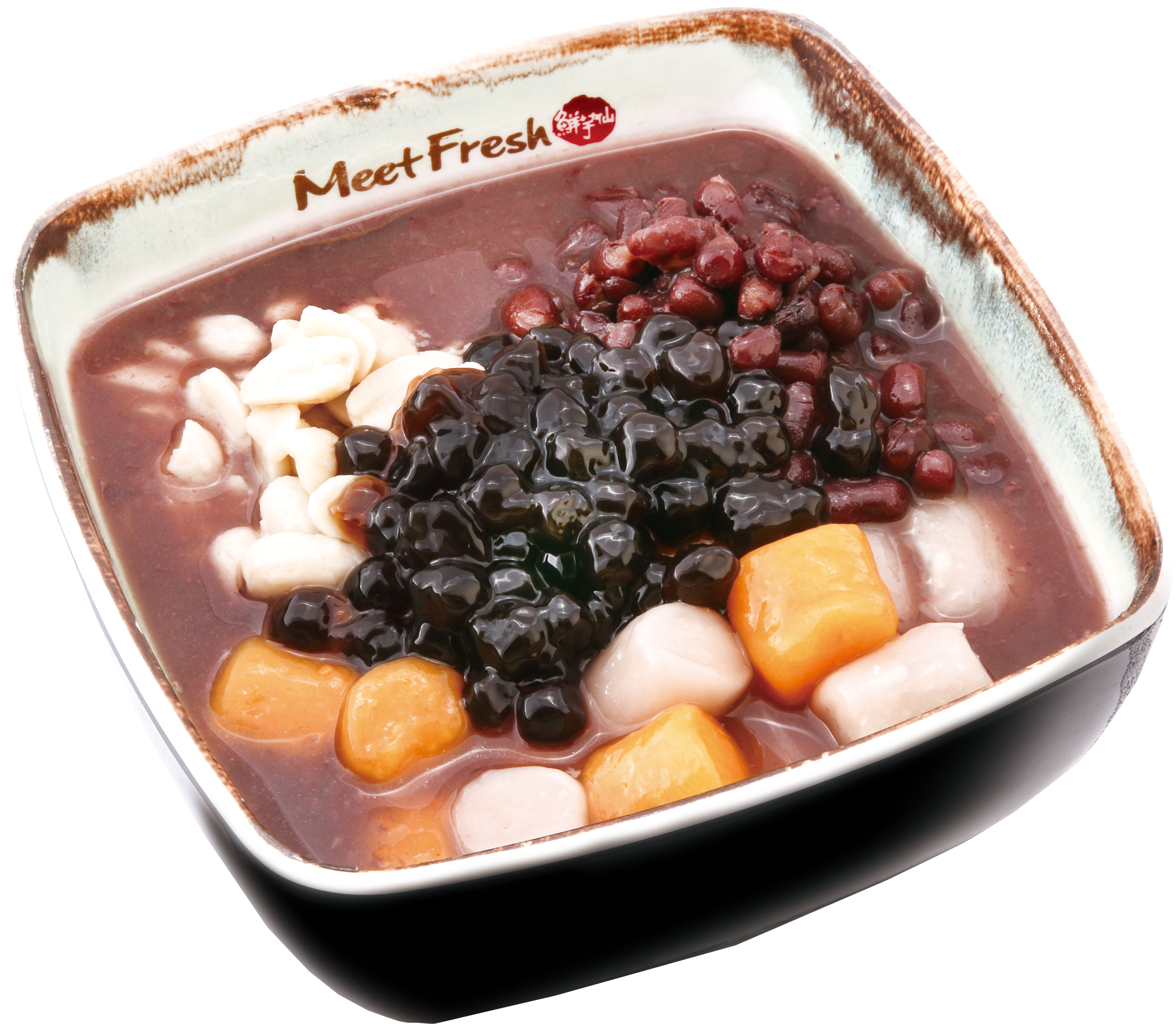 Hot Red Bean Soup Combo A - Taro Balls, Red Beans, Peanuts, Boba, Hot Red Bean Soup