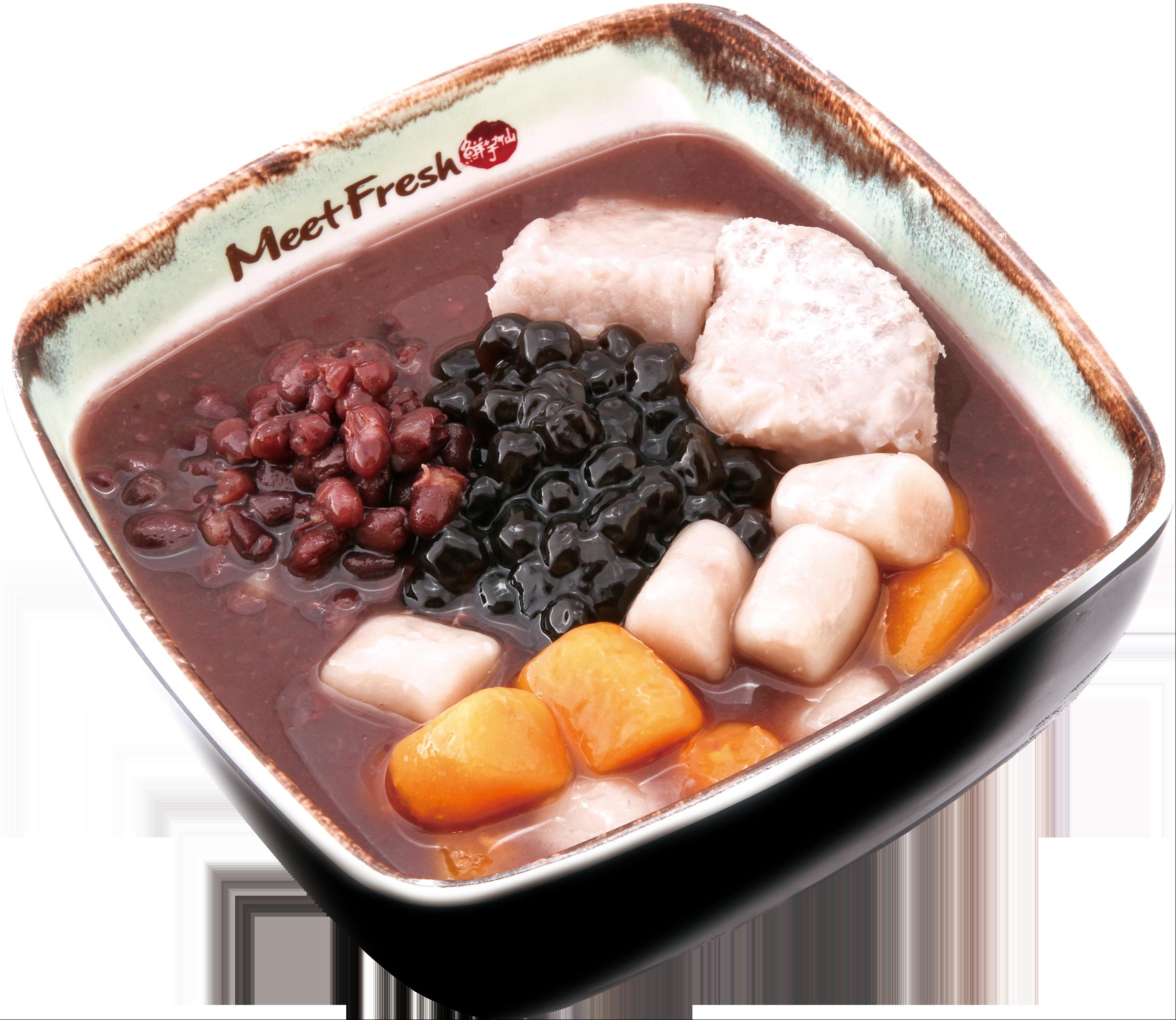Hot Red Bean Soup Combo B - Taro, Red Beans, Boba, Taro Balls, Hot Red Bean Soup