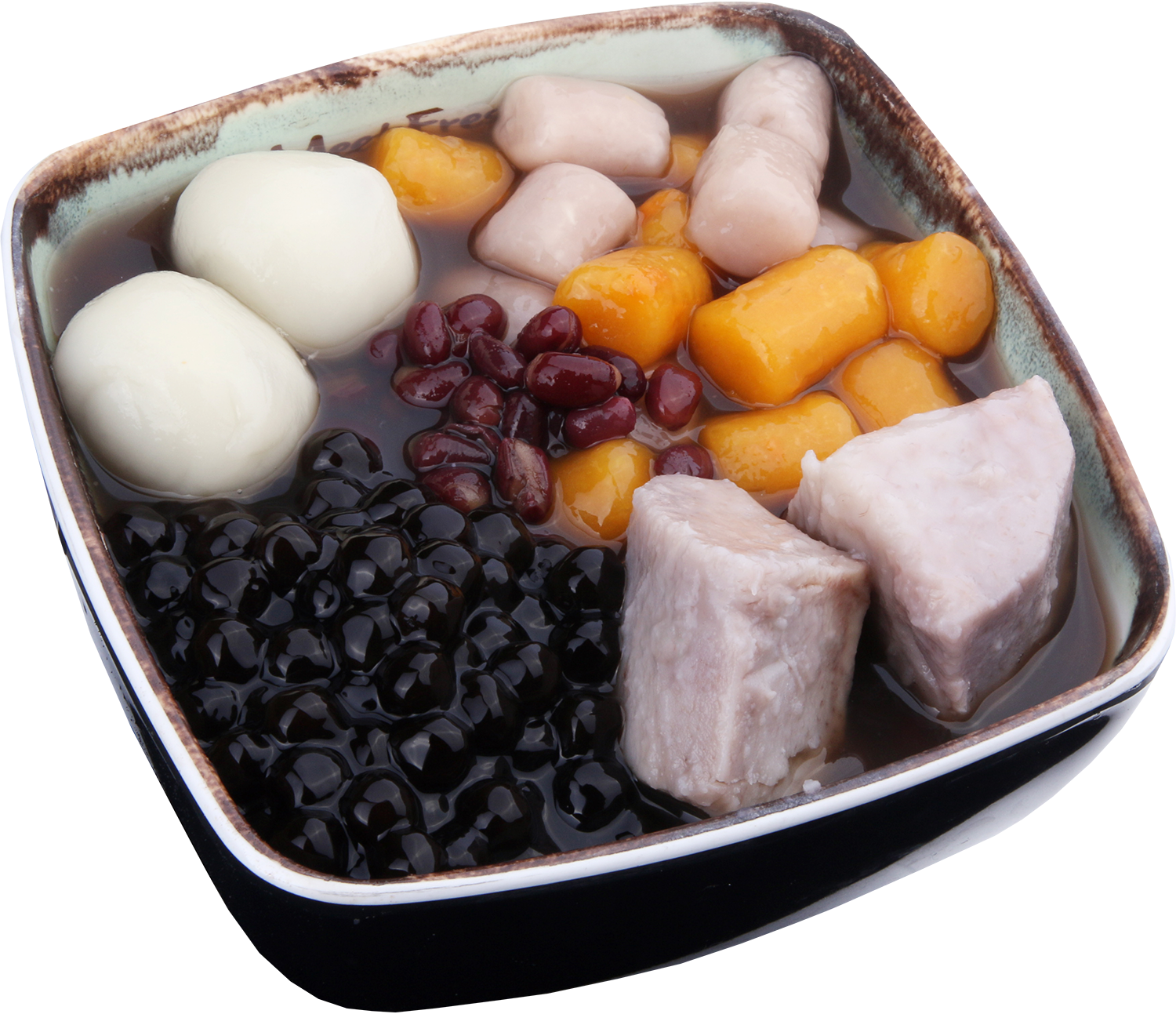 Hot Red Bean Soup Signature - Red Beans, Taro, Sesame Rice Balls, Taro Balls, Boba, Hot Red Bean Soup