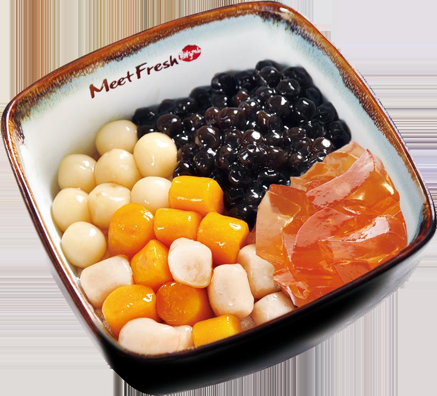 Icy Taro Ball Combo C - Melon Jelly, Rice Balls, Boba, Taro Balls, Shaved Ice