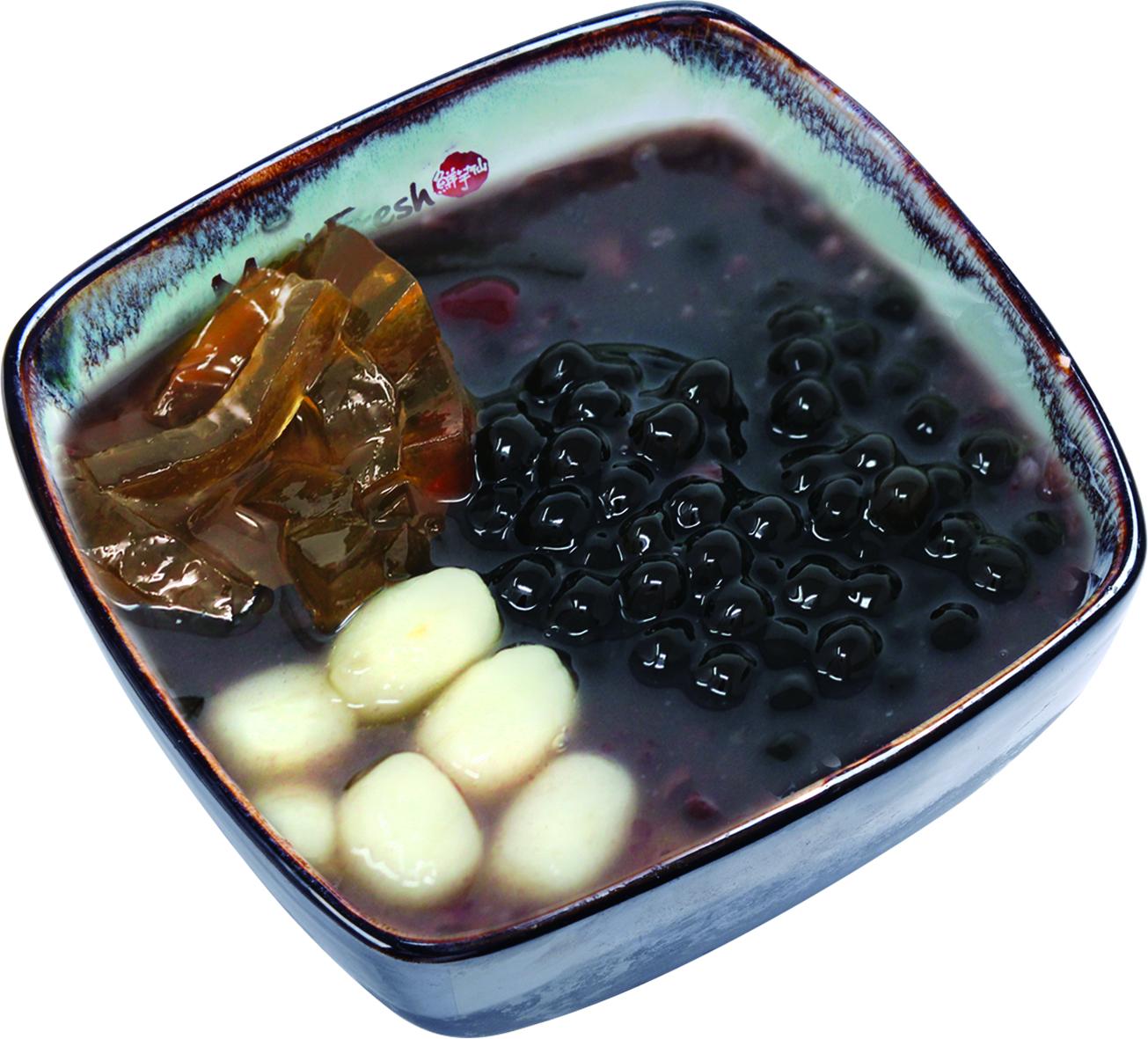 Purple Rice Soup Combo C - Melon Jelly, Rice Balls, Red Beans, Boba, Purple Rice Soup